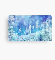 Winter Wonderland - Trees on a watercolour background. Canvas Print
