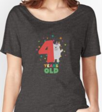 Four Years fourth Birthday Party Grizzly Rrkfs Women's Relaxed Fit T-Shirt