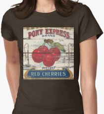 Retro advertisement orchard fruit french country red cherry Womens Fitted T-Shirt