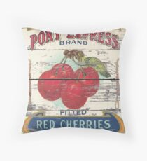 Retro advertisement orchard fruit french country red cherry Throw Pillow