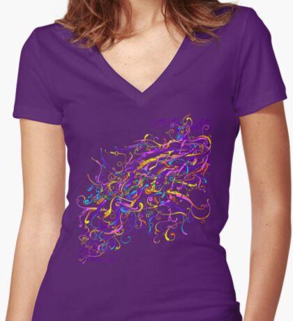 Splash Glass Rattlesnake - Remastered Digital Painting Women's Fitted V-Neck T-Shirt