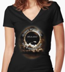 Solar Eclipse 8/21/17  Women's Fitted V-Neck T-Shirt