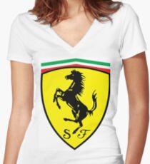 Ferrari Women's Fitted V-Neck T-Shirt