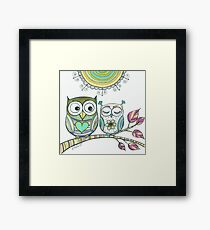 Couple Owls Love Drawing, Owls illustration Animal Birds art Framed Print