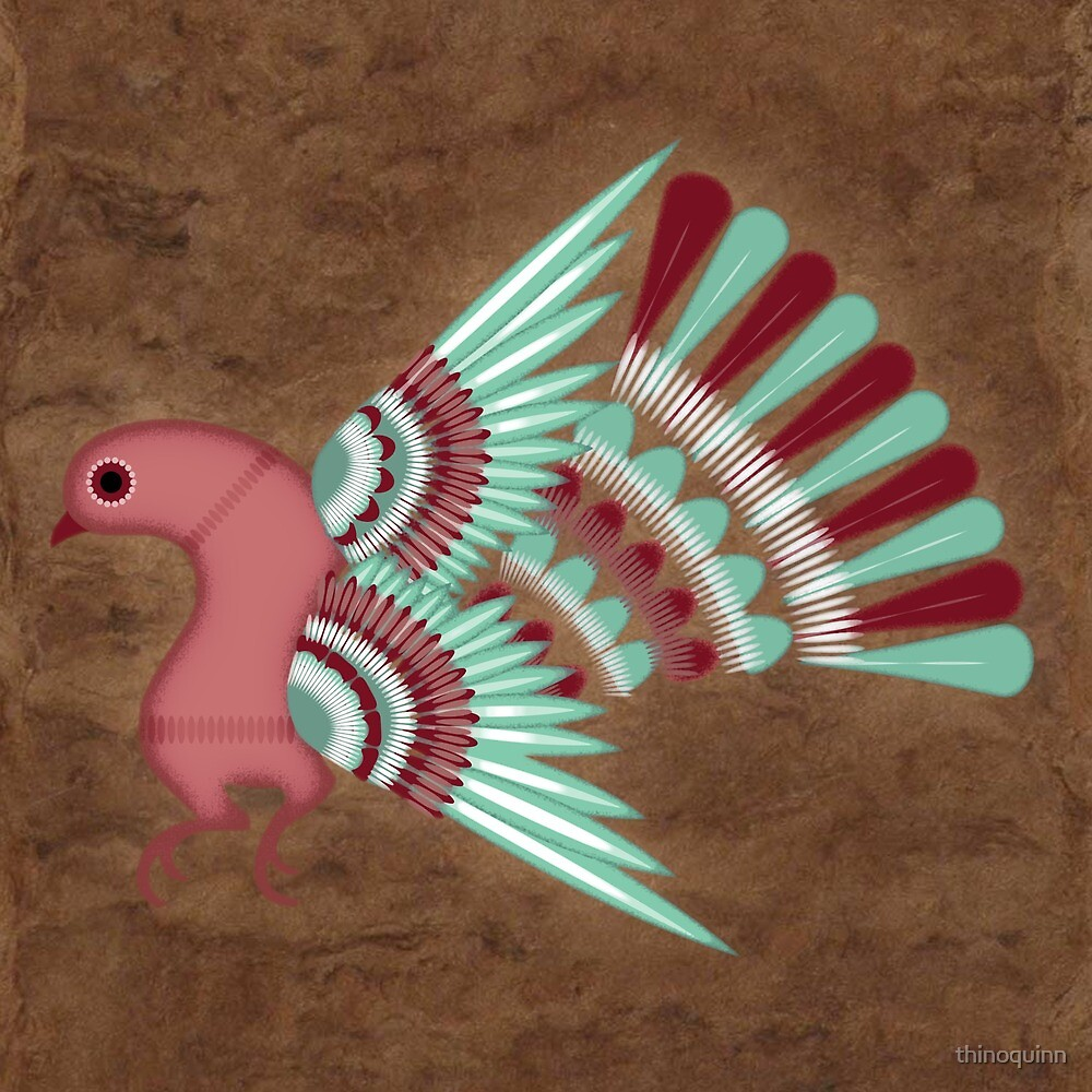 Pajarito #2   Mexican Amate Style Bird by thinoquinn