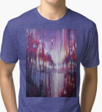 A Beautiful Truth - an abstract Winter landscape with swallows Tri-blend T-Shirt