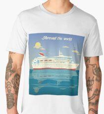 Around the World Travel Banner with Cruise Liner Men's Premium T-Shirt