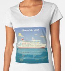 Around the World Travel Banner with Cruise Liner Women's Premium T-Shirt
