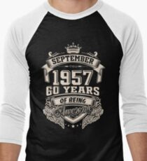 Born In September 1957 Men's Baseball ¾ T-Shirt