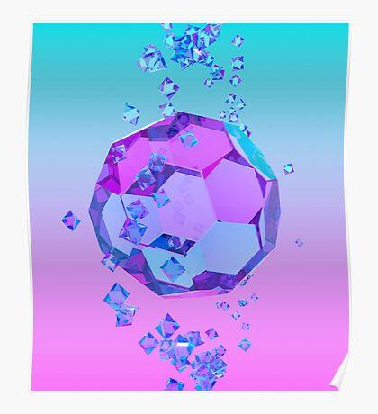 Orbiting Gems Cyan Pink - 3D Design Poster