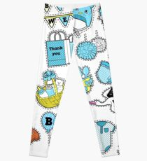 Baby Shower Boy Stickers, Badges, Patches for Birthday Party Decoration. Vector Doodle Leggings