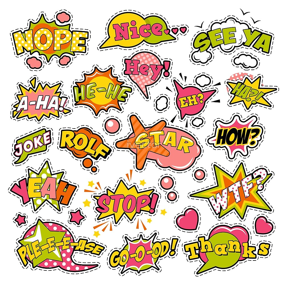 Fashion Badges, Patches, Stickers in Pop Art Comic Speech Bubbles Set with Halftone Dotted Cool Shapes. Vector Retro Background by ivector