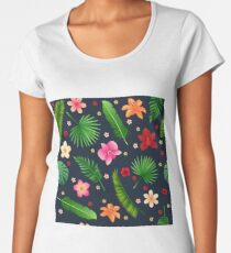 Tropical Flowers Seamless Background Women's Premium T-Shirt
