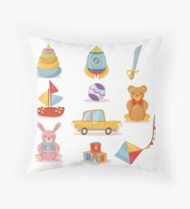 Set of Toys for Kids in Retro style Throw Pillow