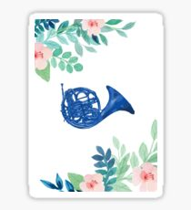 Blue French Horn Floral Illustration Sticker