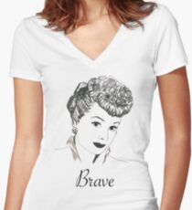 Brave Lucy Women's Fitted V-Neck T-Shirt
