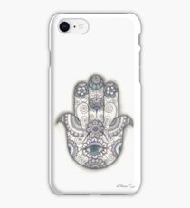 Hamsa hand Drawing, Hand Of Fatima Illustration, Ethnic art iPhone Case/Skin