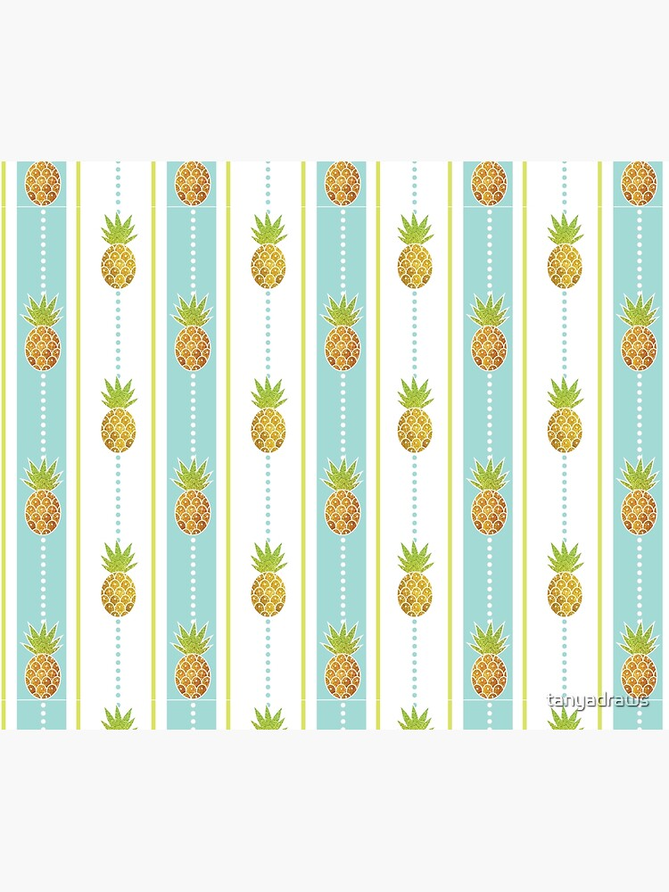 Glitter Tropical Pineapple with Stripes and Dots by tanyadraws
