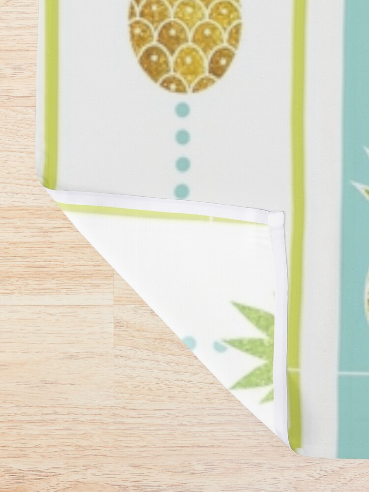 Alternate view of Glitter Tropical Pineapple with Stripes and Dots Shower Curtain
