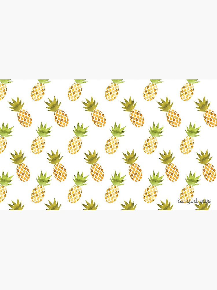 Tropical Watercolor Pineapple Pattern by tanyadraws