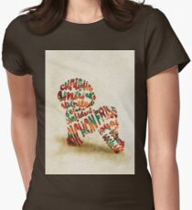 Bichon Frise Typographic Watercolor Painting Womens Fitted T-Shirt