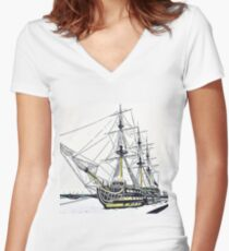 The sailboat Women's Fitted V-Neck T-Shirt