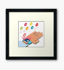 Smart Watch Technology Concept with Hands and Icons Framed Print