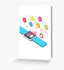 Smart Watch Technology Concept with Hands and Icons Greeting Card