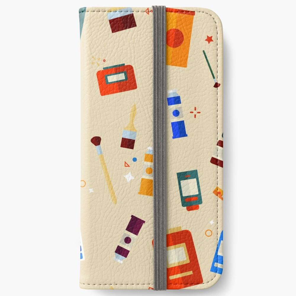 Werkzeuge und Materialien für Kreativität und Malerei Seamless Pattern iPhone Flip-Case