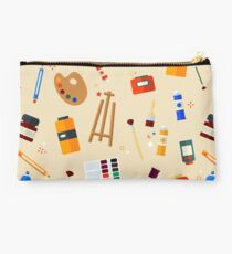 Tools and Materials for Creativity and Painting Seamless Pattern Studio Pouch