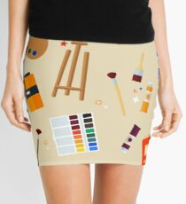 Tools and Materials for Creativity and Painting Seamless Pattern Mini Skirt