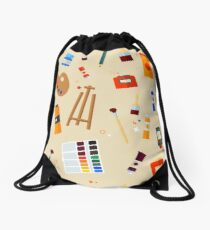 Tools and Materials for Creativity and Painting Seamless Pattern Drawstring Bag