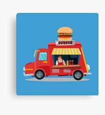 Street Food Concept with Burger Food Truck and Seller Canvas Print