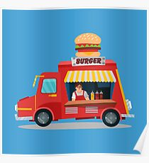 Street Food Concept with Burger Food Truck and Seller Poster