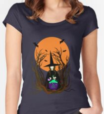 Witch hat preparing a magical potion.  Women's Fitted Scoop T-Shirt