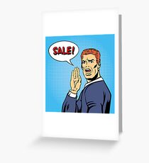 Pop Art Style Sale Poster. Vintage Man Shouts Sale in Comics Style Greeting Card