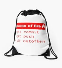 In case of fire - Software Development humor / humour ( Git / Github ) Drawstring Bag
