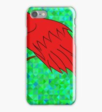 Big Red Parrot Sitting on a Branch on Green Polygonal Background. iPhone Case/Skin