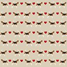 Beagle dog pattern love hearts portrait pattern cute gifts for dog lover dog breeds by PetFriendly by PetFriendly