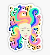 Cartoon psychedelic face girl  Sticker