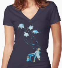 Mad Animal Pianist - Remastered Digital Illustration Women's Fitted V-Neck T-Shirt