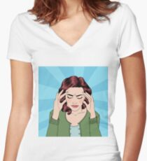 Woman has a Headache. Woman Stress. Stress at Home. Stress at Work. Exhausted Woman. Woman in depression. Painful Feeling. Pop Art Banner Women's Fitted V-Neck T-Shirt