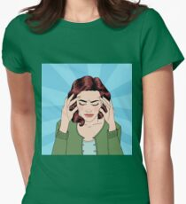 Woman has a Headache. Woman Stress. Stress at Home. Stress at Work. Exhausted Woman. Woman in depression. Painful Feeling. Pop Art Banner Womens Fitted T-Shirt