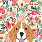 Beagle dog portrait florals cute gifts for dog lover dog breeds by PetFriendly  by PetFriendly