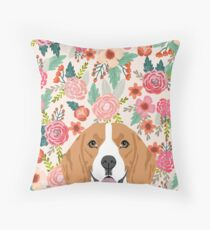 Beagle dog portrait florals cute gifts for dog lover dog breeds by PetFriendly  Throw Pillow