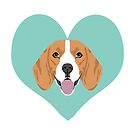 Beagle dog portrait hearts cute gifts for dog lover dog breeds by PetFriendly  by PetFriendly