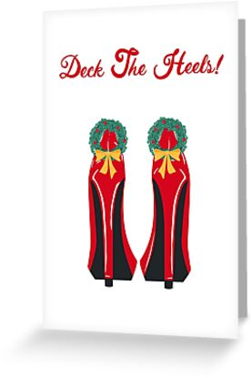 Red High Heels with Christmas Wreaths by Ness Nordberg