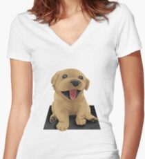 Labrador Puppy Dog Women's Fitted V-Neck T-Shirt