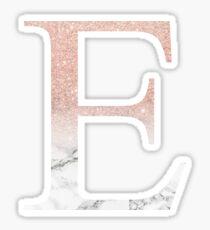 Rose Gold Glitter and Marble Epsilon E Sticker