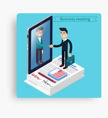 Business Meeting. Man with Suitcase. Business Man. Success in Business. Agreement Signing. Successful Negotiations. Isometric Concept Canvas Print